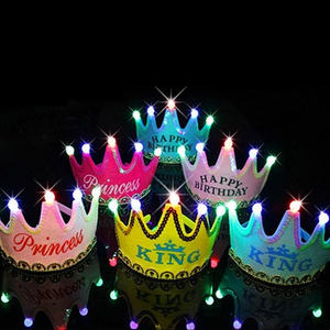 LED Luminous Crown Birthday Hats for Children Girl Princess Boy King Cap for Birthday Party Celebration Decoration(China)