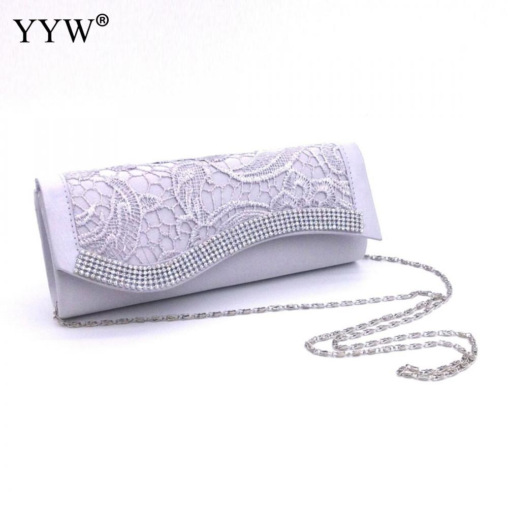 ff33a7bbb7d6 YYW Ladies Hollow Lace Clutch Bag New Satin Evening Bags High-Grade Silk  Handbag Exquisite Day Clutches Crossbody Chain Borse