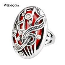 Anillo de notación Musical tallado hueco joyería tibetana Vintage anillos de dedo de doble capa de cristal de resina de plata para mujer