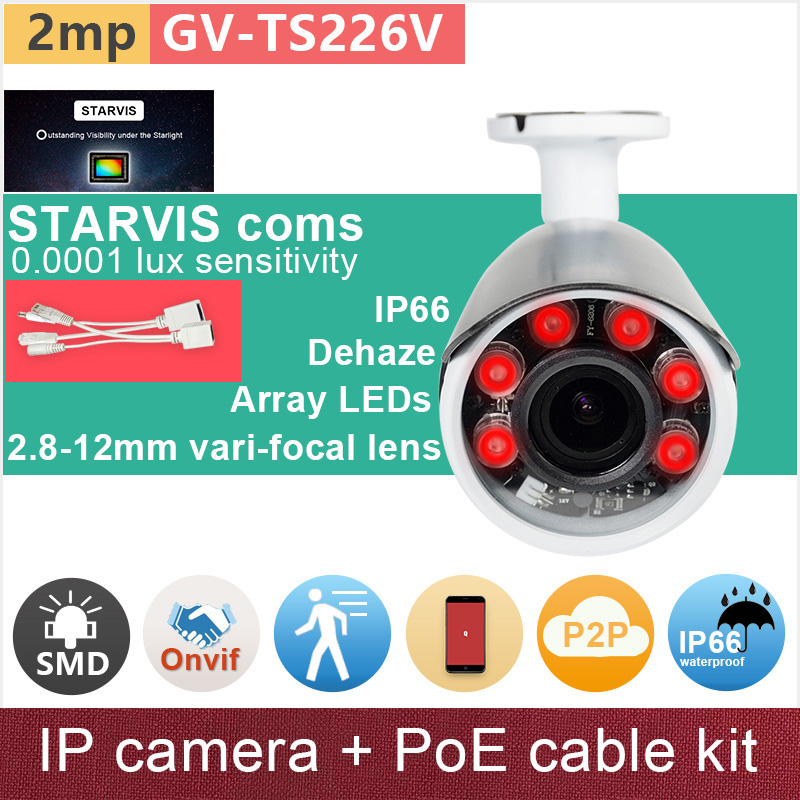SONY STARVIS#IMX291 starlight 1080P IP camera + PoE cable FHD ONVIF 2mp outdoor CCTV video cameras camcorder GANVIS GV-TS226V pk sony starvis built in heater poe cable kit ip camera 1080p full hd 2mp starlight cctv camera outdoor dome ganvis gv ts255vh pk