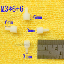 1Pcs M3*6+6 White Nylon Standoff Spacer Standard M3 Male-Female 5mm Kit Repair Set High Quality