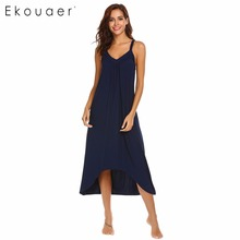 Ekouaer Nightgown Women Nightwear Dress Solid Irregular Hem Spaghetti Strap Loose Dress V-Neck Nightdress Sleepwear