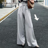 TWOTWINSTYLE Tunic Wide Leg Pants Female High Waist Lace Up Maxi Trousers Large Size 2018 Summer Fashion Women OL Clothing