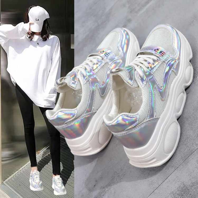 WOMENS LADIES CROSS LACE GLITTER CHUNKY SNEAKERS PARTY TRAINERS WOMEN SHOES SIZE