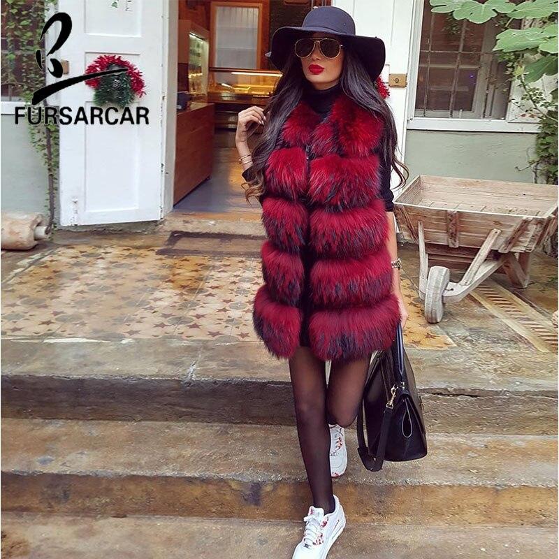 Fursarcar модная Элитная шуба Для женщин натуральный енота собака меховой жилет для Женская зимняя обувь толстый и осень натуральный мех жилет ...