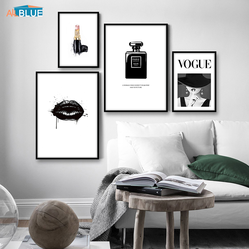 Modern Wall Picture Lips Vogue Poster Perfume Nordic Posters And Prints Wall Art Canvas Painting For Living Room Home Decoration