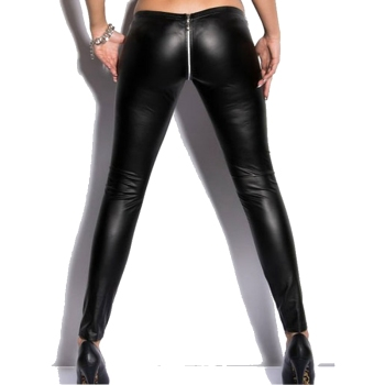 Mid Waist Women PU Leather Pants Stretch Zipper open crotch Leggings Pencil Skinny Black Sexy Ladies Female Trousers M L XL XXL