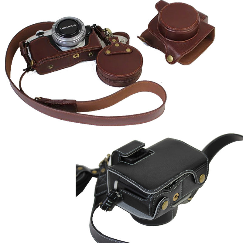 Luxury Genuine Leather Case Cover Bag With Strap mini Pouch For Olympus OM D OMD EM10