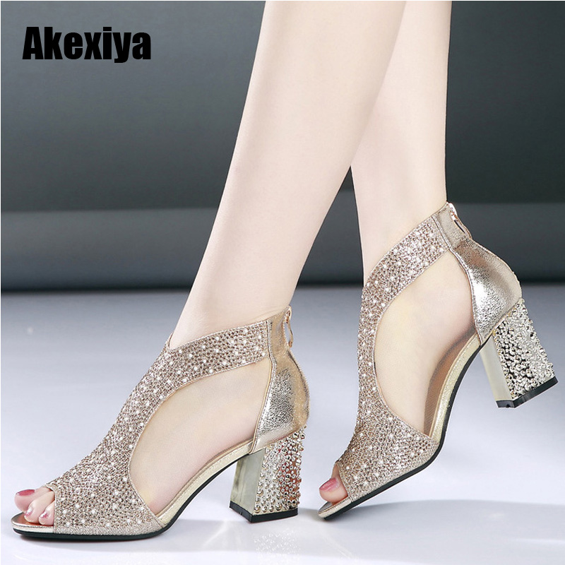 Fashion 2018 Women Sandals Bling 7cm High Heels Diamond Summer Square Heel Women Shoes Wedding Shoes Leather Sandalia Mujer m637