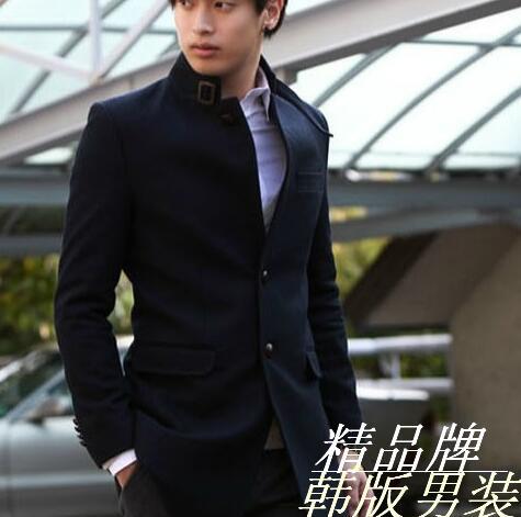 Black stand collar casual woolen coat men suits overcoat mens cashmere coat casaco masculino inverno erkek