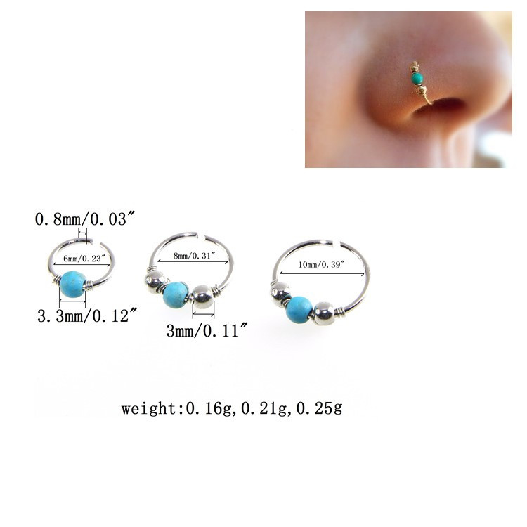 Stainless Steel Nose Ring Turquoise Nostril Hoop Nose Earrings PiercingJewelO Nz