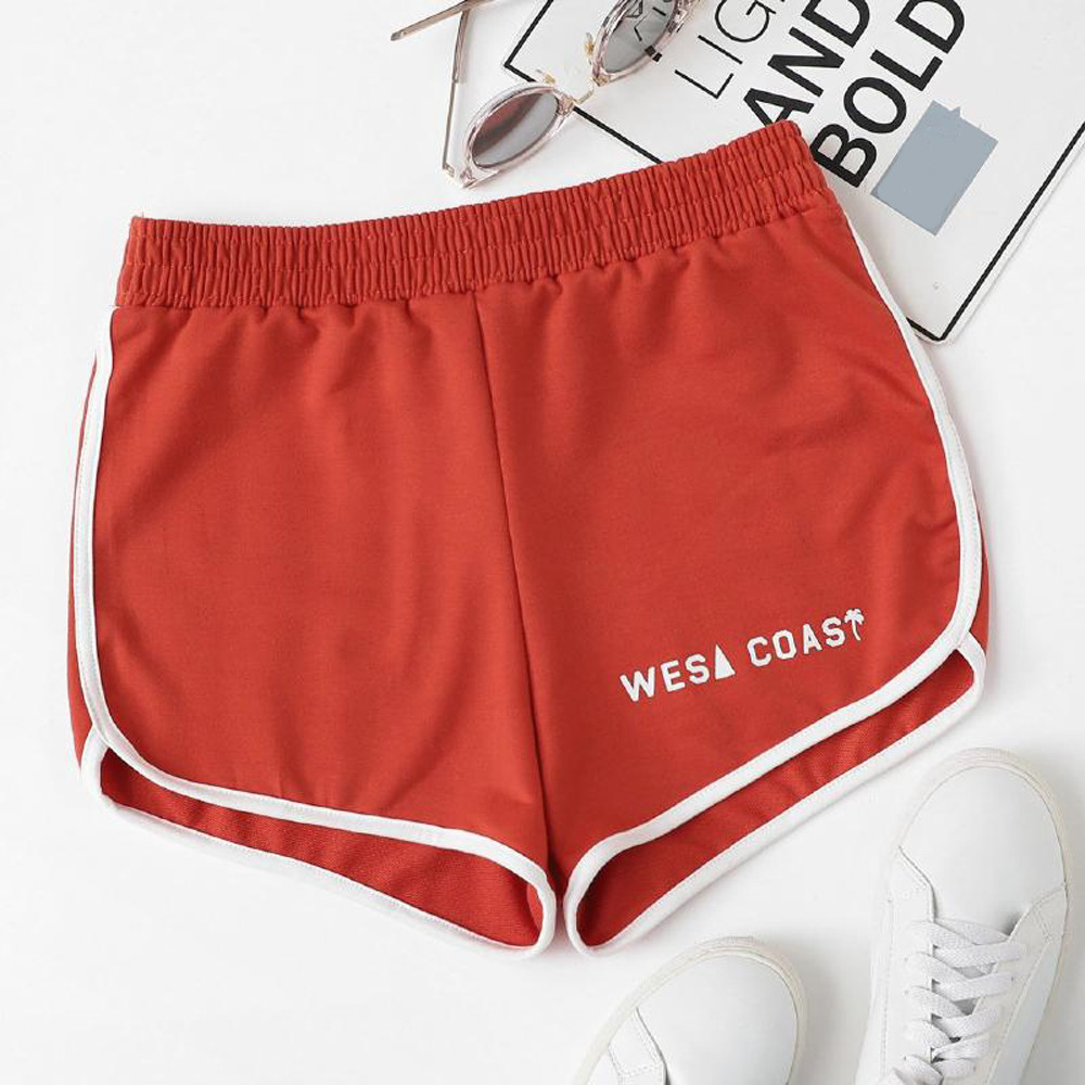 Womail Women Shorts Solid Casual Elastic Band Letter Hot Shorts Summer Jersey Walking Casual Daily Denim Color Dropship J23