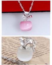 Lovely Pink White Opal Apple Shape Pendants Necklace For Women Silver Chain Apple Opal Pendants For A Neck Collar Woman Girl