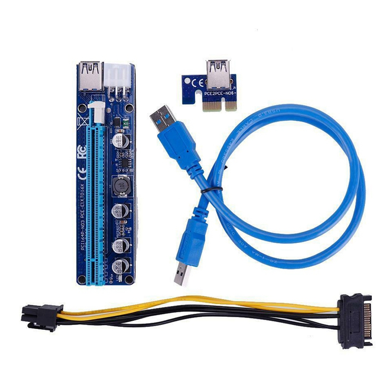 Kreativ Hot-ver008c 6pin Pci-e 1x Zu 16x Riser Card Extender Usb 3.0 Kabel Für Bergbau Starke Verpackung