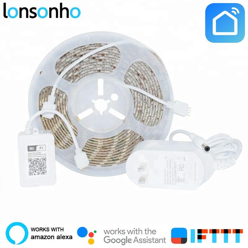 Lonsonho Kit Corda Tira RGB Led Wi-fi Inteligente 5050 5M IP65 Trabalha Com Alexa Inicial do Google Mini Inteligente À Prova D' Água casa de Automação