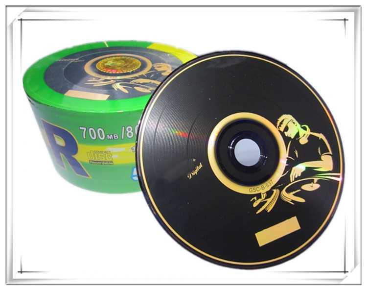 25 discs Grade A 700 MB Blank DJ Black Printed CD-R Disc