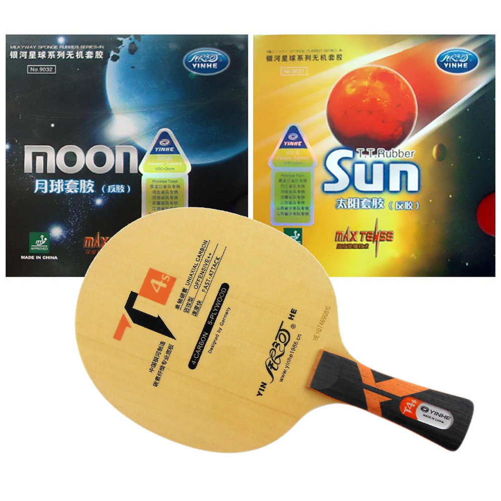 Pro Table Tennis Combo Paddle / Racket: Yinhe T4s + Sun (Factory Tuned) / Moon (Factory Tuned) Shakehand Long Handle FL