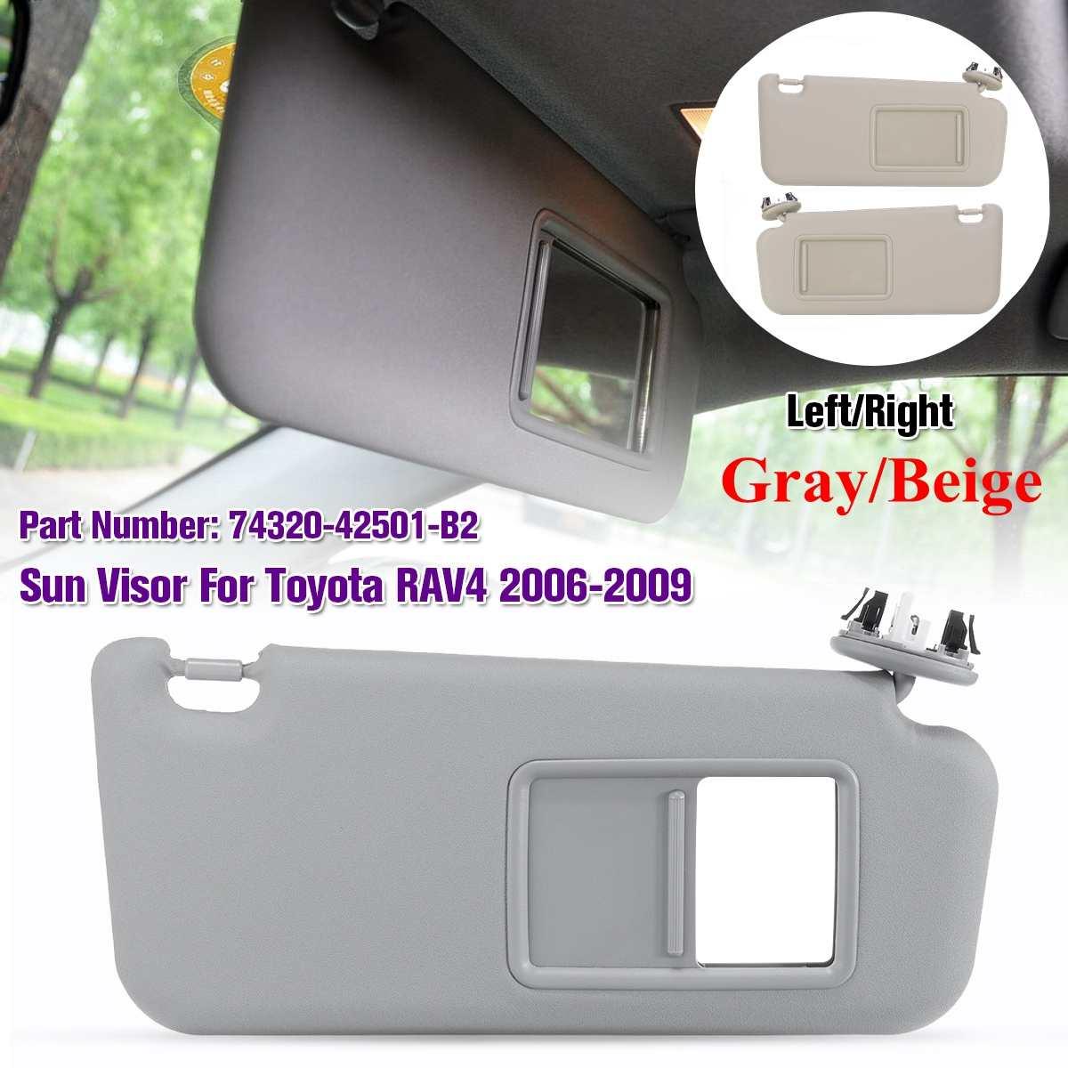 1 pièces accessoires de voiture gauche/droite gris Beige pare-soleil avec miroir de maquillage et vis pour Toyota RAV4 2006-2009 74320-42501-A1