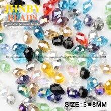 JHNBY Briolette Pendant Waterdrop Austrian crystal beads 5*8mm 50pcs Teardrop glass loose beads for jewelry making bracelet DIY