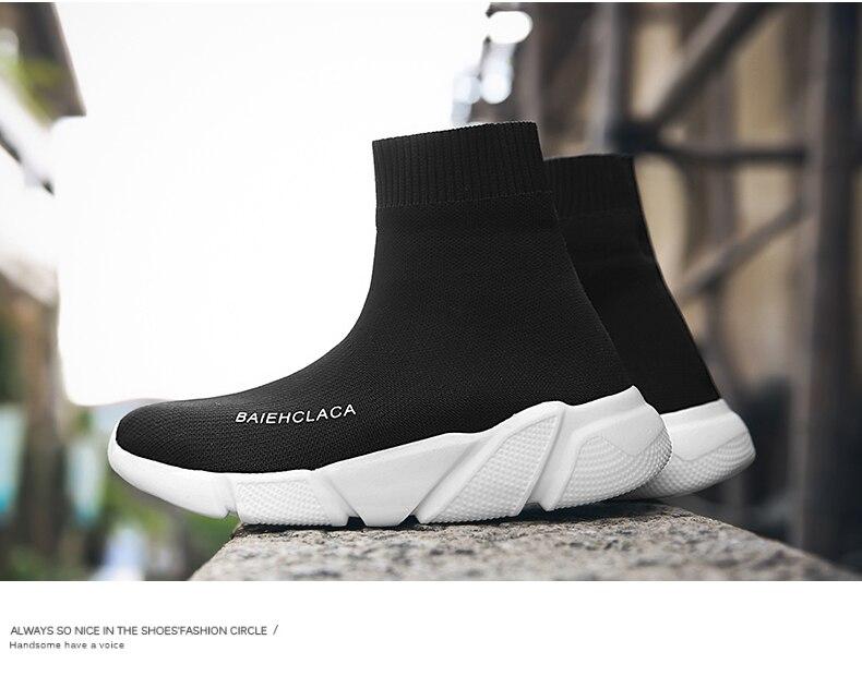 2019 Sneakers Men Brand Socks Sports Shoes Women Wedge Men Trainer ... 4eedec12385f