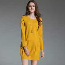 2017 New Autumn Winter Thin Casual Bud Dresses Long Sleeves Yellow Black Elegant Dress Ladies Simple Plus Size Woman Clothing