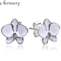 Moonnory 925 Sterling Silver Orchid Stud Earring With White Enamel For Girl Young Woman Fashion Jewelry