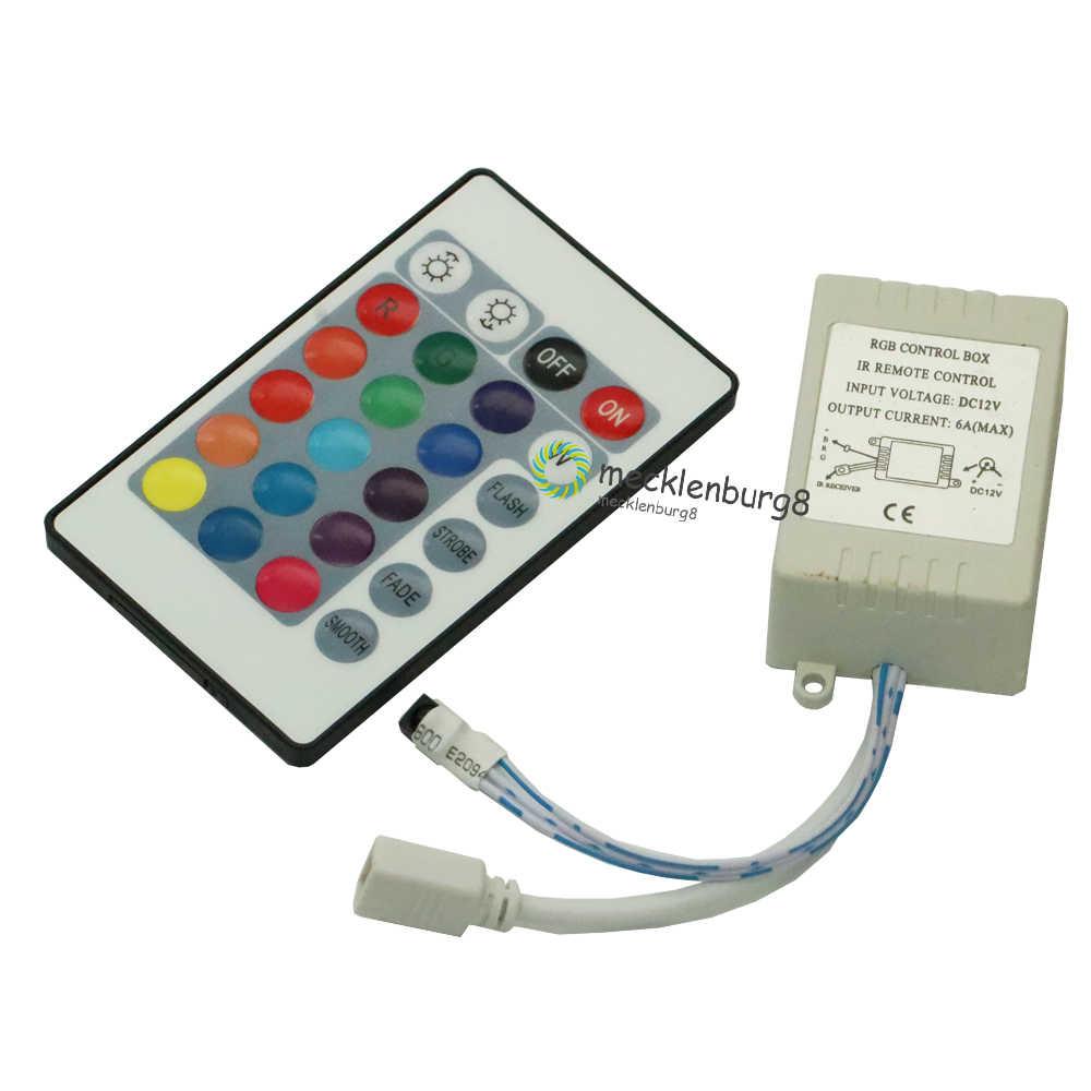 12V 24Key LED RGB IR RF controlador inalámbrico infrarrojo para SMD 5050 RGB LED tira 12V 24 teclas controlador inalámbrico sin batería