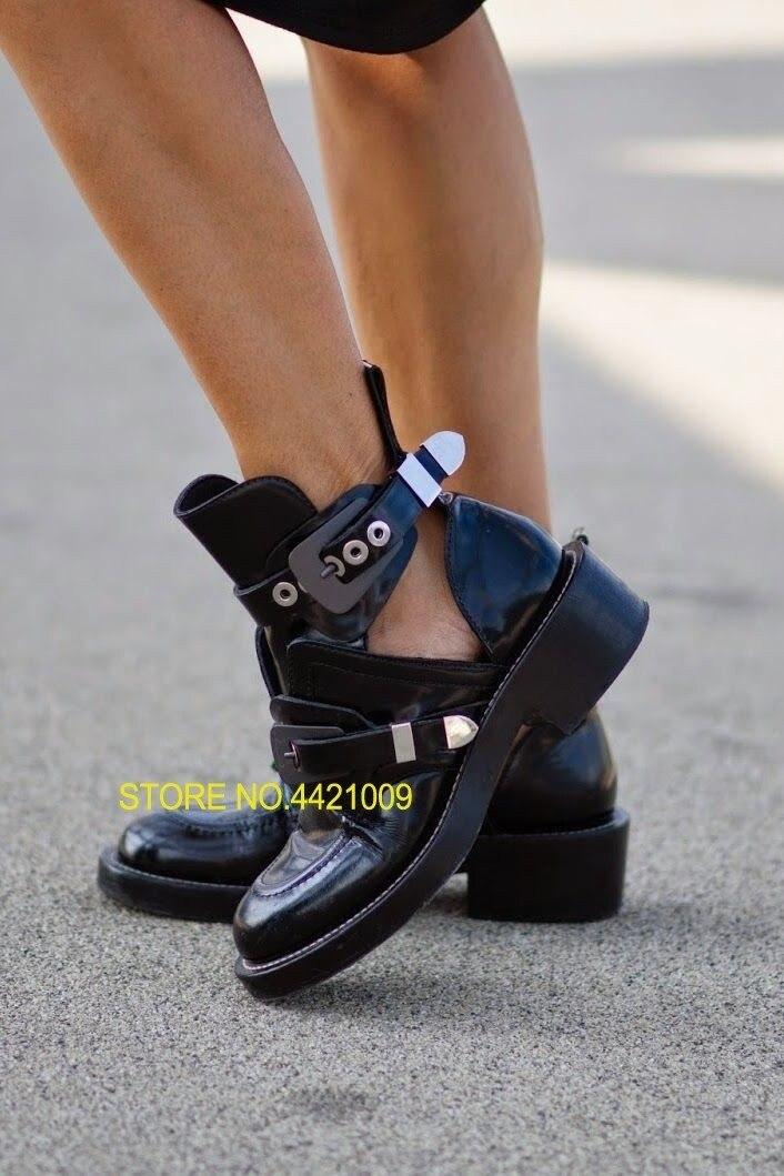 Talon Boucle Pour Size42 1 Femmes Bottes Gladiateur Découpe Moto Chaussures 4 Cheville Chausson 6 En Appartements Cuir Femme 2 5 Carré 3 D'équitation Piste WH9Y2DeEI