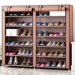 Двухрядный 12 Сетчатый Шкаф Для Обуви, простая мебель для хранения дома, большая емкость, экономия пространства, влагостойкая полка для обув...