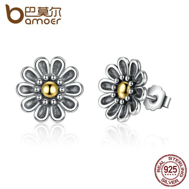 Sterling Silver Black Chrysanthemum Flower Earrings