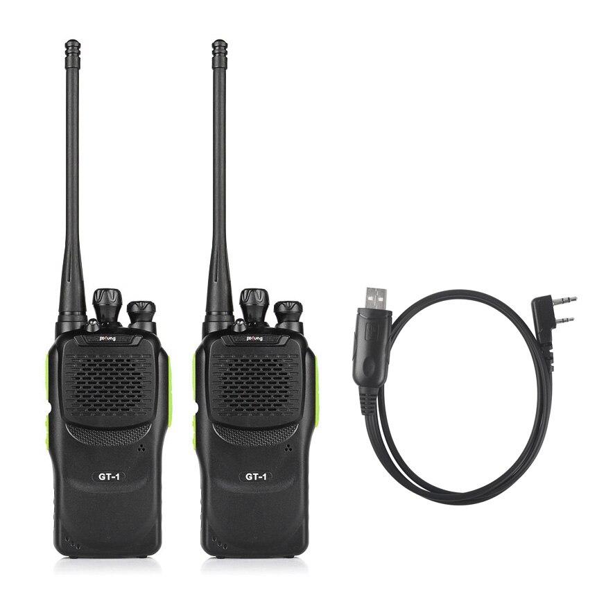 imágenes para 2 unids pofung gt-1 baofeng uhf 400-470 mhz 5 w 16ch de dos vías jamón de Radio de Mano Walkie Talkie 888 s con Cable de Programación para Win10