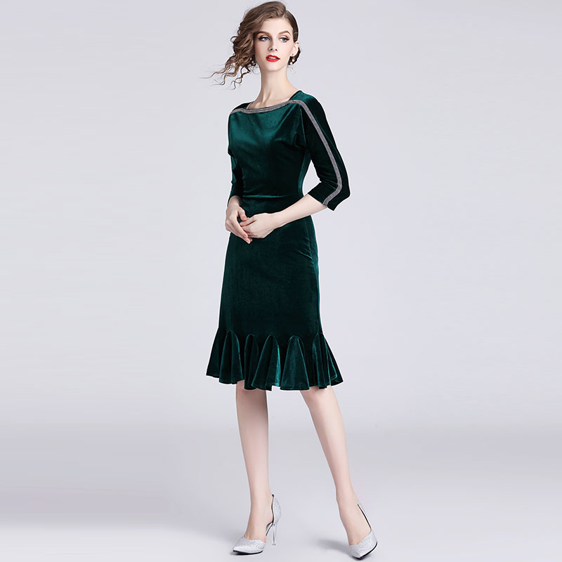 f15cac6bddf Borisovich Ladies Evening Party Dress New Brand 2018 Autumn Fashion England  Style Knee Length Elegant Women Mermaid Dresses N129-in Dresses from Women s  ...