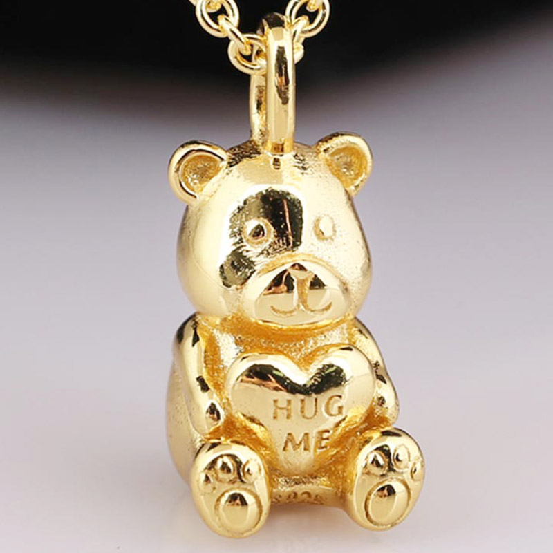 037c0ec50be29 US $9.3 32% OFF New Gold Color Shine Theodore Bear Hug Me Necklace Pendant  Fit Pandora Bracelet Diy Jewelry 925 Sterling Silver Bead Charm-in Charms  ...