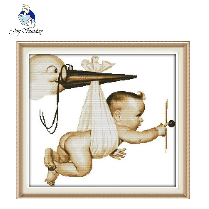 JOY SUNDAY,Needlework,DIY DMC Cross stitch,Sets For Embroidery kit Flying baby home decoration Counted Cross stitching
