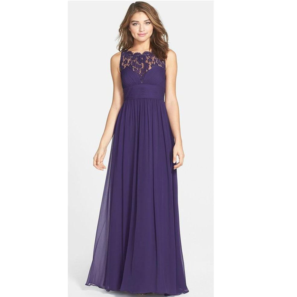 Online get cheap empire waist chiffon bridesmaid dress aliexpress 2016 classic grape jewel lace sleeveless pleated s ombrellifo Images