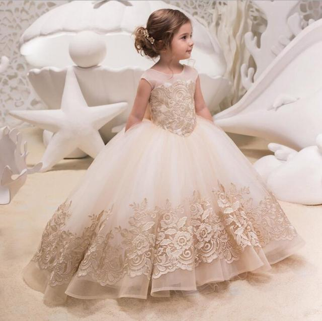 女の子誕生日パーティードレス子供レースアップリケ夜会服の王女のウェディングドレスクリスマスノースリーブチュチュ服 2 13 年