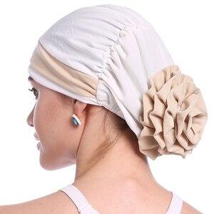 Image 3 - ファッション女性のエレガントなストレッチブロック色イスラム教徒ターバン化学がんキャップビーニー帽子ホットな新デザイン 10 色 2018