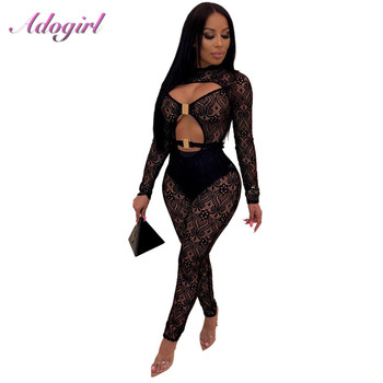 Sexy Hollow Out sheer Lace Bodycon Jumpsuit Women Casual Long Sleeve Strapless Night Club Party Rompers summer Lady Overalls