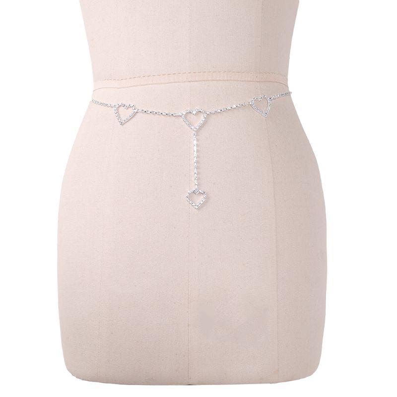 Fashion New 1 Pc Women Sexy Waist Chain Rhinestone Heart to Heart Body Chain Belt For Lady Female Party Beach High Quality