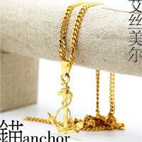JHNBY kotwica naszyjnik 76 cm Długi Wysoka Jakość Moda Hiphop PUNK Złoty kolor łańcucha oświadczenie naszyjnik mężczyzn biżuteria 2017