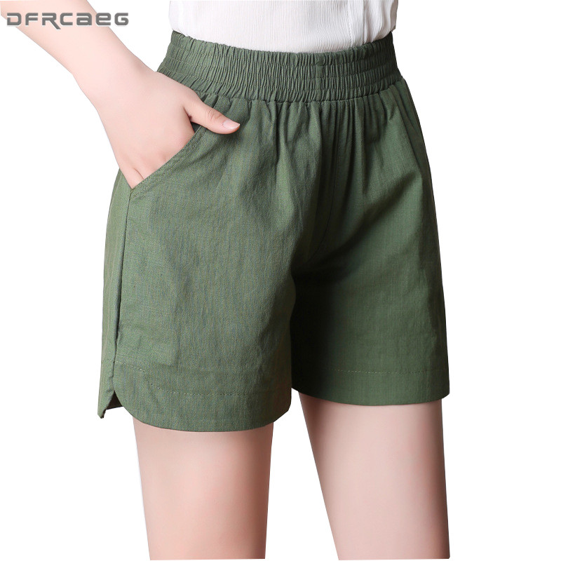 4XL Big Size Womens Shorts Summer 2018 Fashion Loose Elastic Waist Cotton Linen Short Trousers Femme With Pocket Candy Color