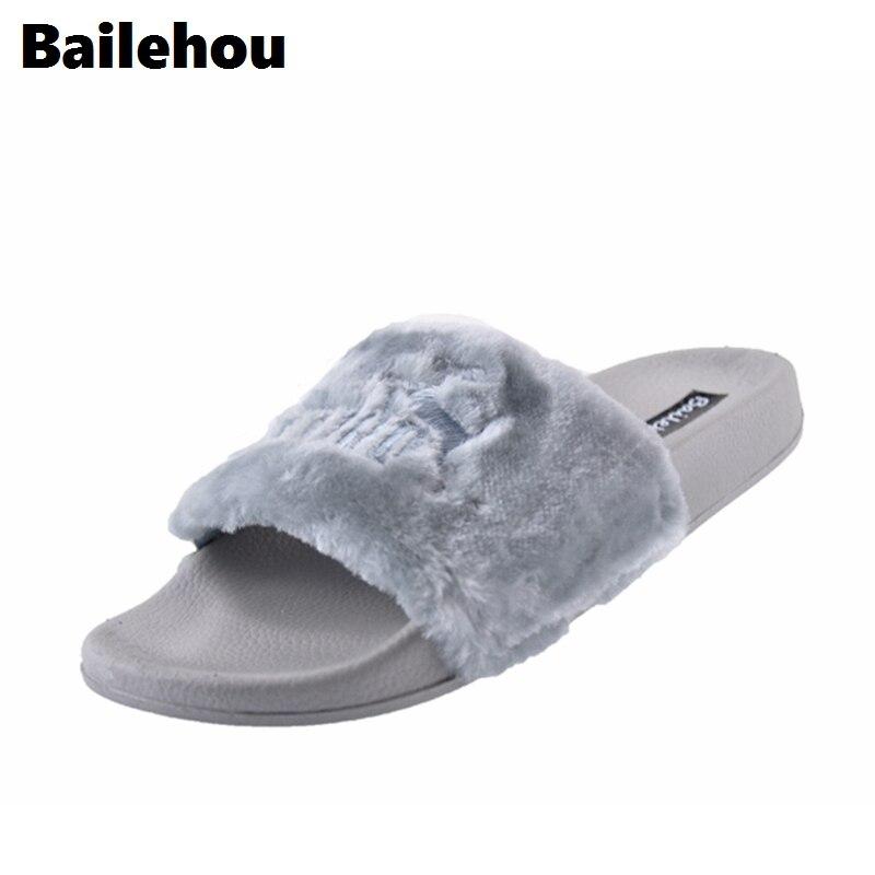 Bailehou модные женские туфли без каблука Шлёпанцы для женщин бренд Мех животных тапочки слипоны Направляющие с вышивкой обувь на плоской подо...