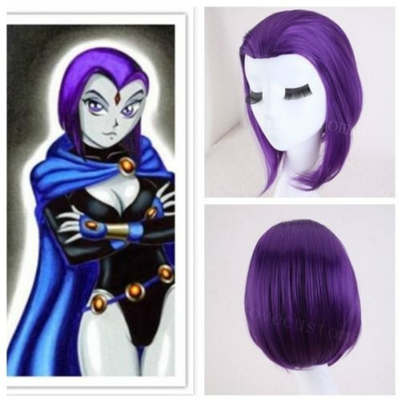 New Anime Teen Titans Raven Cosplay Wigs Purple Short Heat Resistant Synthetic Hair Perucas Cosplay Wig For Halloween Party