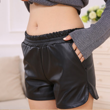 S-XXL 2018 New PU Leather Shorts Women #8217 s Black High Quality Short Pants With Pockets Loose Casual Shorts cheap Liva girl REGULAR XC3086 NONE Elastic Waist Polyster Harem Pants Solid