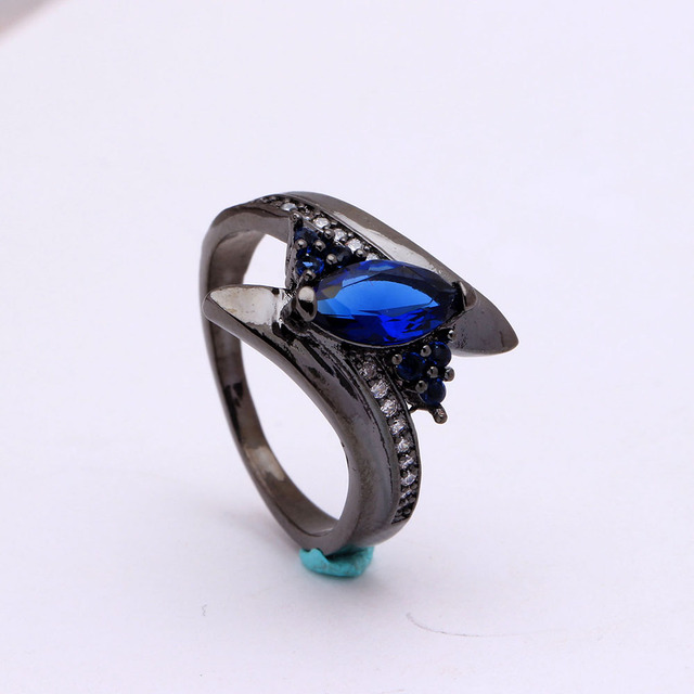 Black Gun Rainbow Crystal Ring