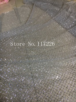 glued glitter African Tulle Lace Fabric JRB-42932 hot sale African French Lace Fabric with silver glitter