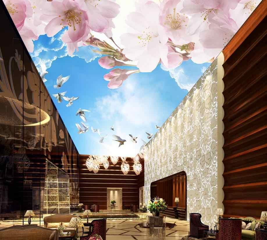 3D стереоскопического потолочные обои персик облака солнце потолочные фрески 3d Декор потолка обои украшения дома