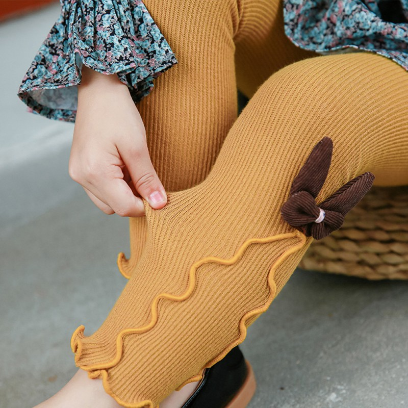 d1dc08e9c4182 Autumn Winter Kids Girls Knitted Leggings Children Solid Legging Baby  Toddler Casual Ankle Bowknot Stockings New-in Tights & Stockings from  Mother & Kids on ...
