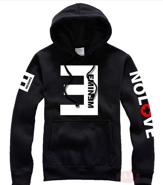 2016 Winter Men's Fleece Hoodies Eminem Printed Thicken Pullover Sweatshirt Men Sportswear Fashion Clothing