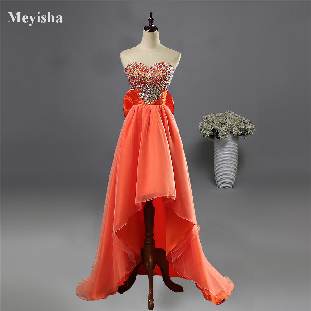 ZJ5074 2016 High Low Prom Dresses Sweetheart Evening Gowns Graduation for Girl Blue Orange Size 4 6 8 10 12 14 16 18 20 22 24 26